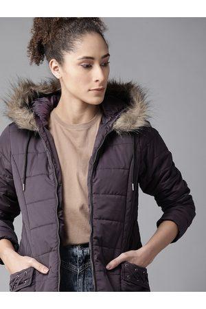 Roadster Women Parkas - Women Purple Solid Parka Jacket with Detachable Hood