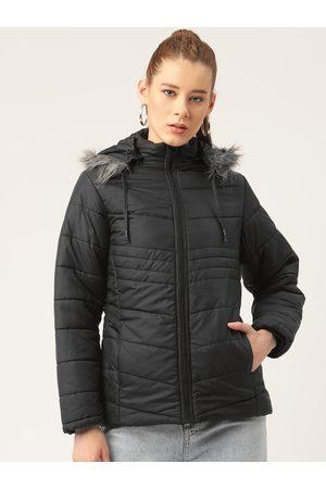 Okane Women Parkas - Women Black Solid Parka Jacket with Faux Fur Trim