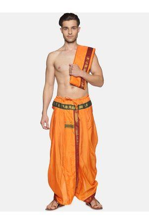 Sethukrishna Men Dhotis - Men Orange Solid Dhotis