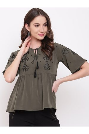 Mayra Olive Green Floral Tie-Up Neck A-Line Top