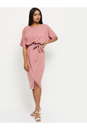 Max Collection Neckties - Peach-Coloured Solid Sheath Dress With Tie-Ups Detailing