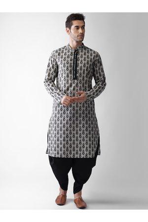 Vartah Men Ethnic Pyjamas - Men Grey Ethnic Motifs Printed Regular Kurta with Pyjamas
