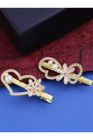 Yellow Chimes Jewellery Women Hair Accessories - Women Gold-Toned & White Set of 2 Embellished Alligator Hair Clips