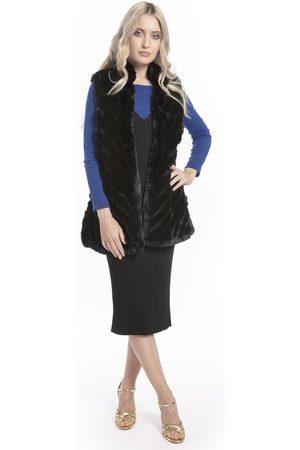 Jayley Women Body Warmers - Women s FMUG385A Faux Fur Faux Suede Diagonal Long Gilet