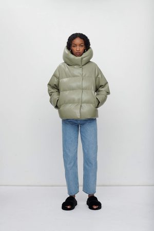 Jakke Women Leather Jackets - Patricia Vegan Leather Puffer Jacket - Olive