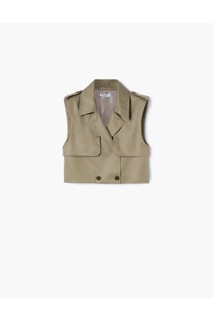 A LINE Women Trench Coats - Olive- Cropped Trench Vest