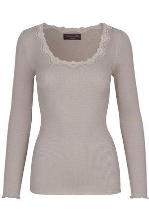 Rosemunde Women Long Sleeve - Silk top long sleeve w Lace Clay