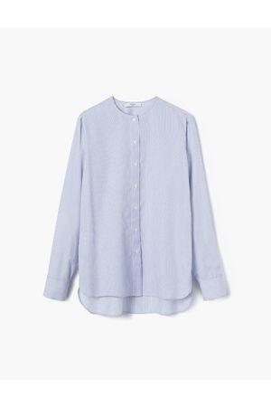 A LINE Tailored Stripes Collarless Shirt