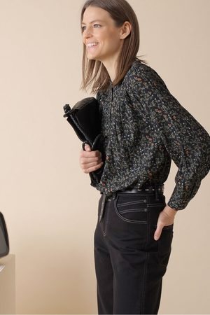 Indi And Cold Women Tops - Black Print Floral Top