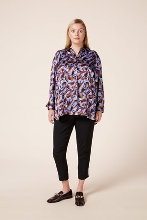 The Hour Women Long Sleeve - Abstract Print Satin Shirt
