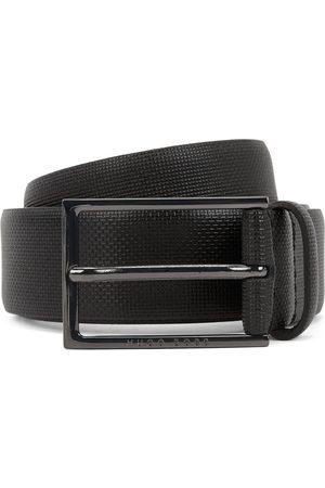 HUGO BOSS Men Belts - CARMELLO-S Printed-Leather Belt With Gunmetal Buckle 50262032 001