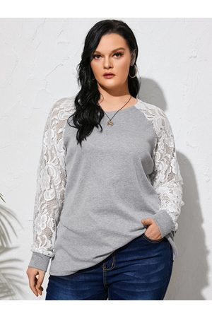 YOINS Plus Size Lace Patchwork Long Sleeves Tee