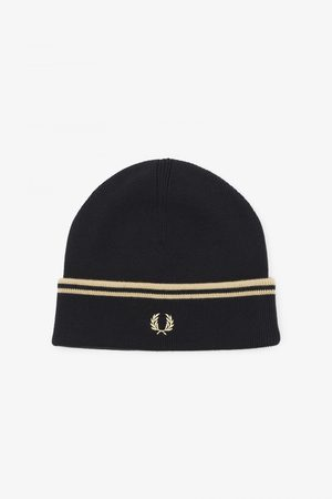Fred Perry Men Beanies - Fred Perry Twin Tipped Merino Beanie - Black/Champagne