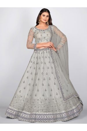 SHOPGARB Women Grey Embroidered Semi-Stitched Lehenga & Unstitched Blouse With Dupatta