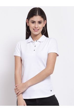 Juelle Women White Polo Collar T-shirt