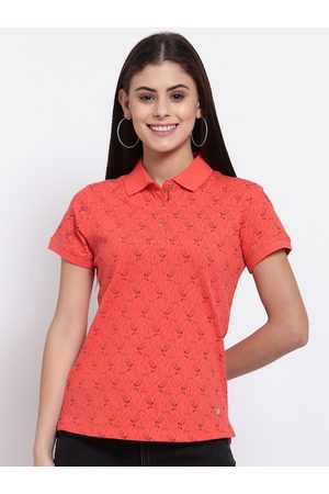 Juelle Women Coral Printed Polo Collar Pockets T-shirt
