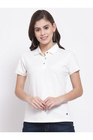 Juelle Women Polo Shirts - Women White Polo Collar Cotton T-shirt