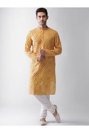 Vartah Men Yellow Ethnic Motifs Printed Regular Kurta with Pyjamas