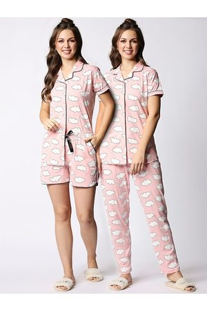 I like me Women Set of 3 Peach-Coloured & White Printed Night suit