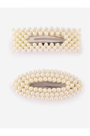 BuckleUp Women Off White Set of 2 Beaded Tic Tac Hair Clips