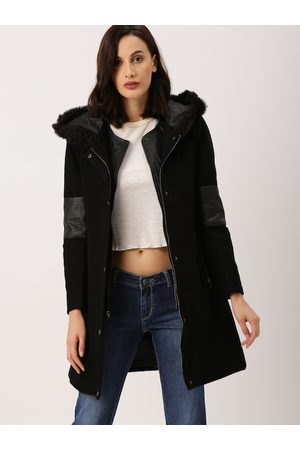 all about you Women Black Solid Longline Hooded Parka Coat