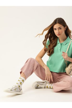 DressBerry Women Green Pure Cotton Polo Collar T-shirt