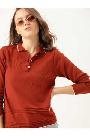 DressBerry Women Rust Orange Open Knit Polo Collar Pullover