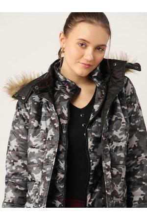 DressBerry Women Grey & Black Camouflage Print Longline Parka Jacket