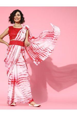 Mitera Tie and Dye Poly Chiffon Saree with Printed border