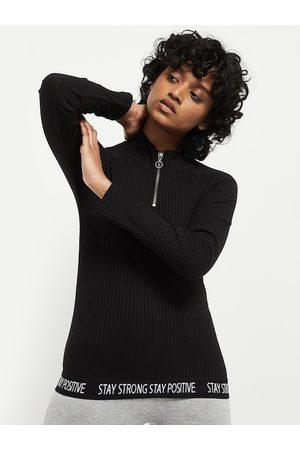 Max Collection Women Black Polo Collar Pockets T-shirt