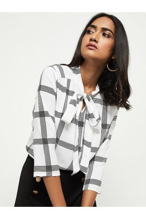 Max Collection White Checked Tie-Up Neck Regular Top