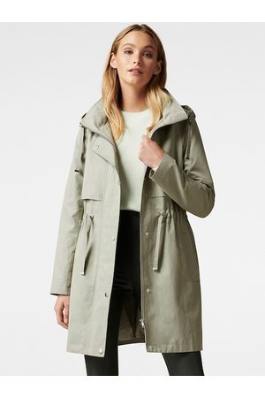 Forever New Women Olive Green Solid Double-Breasted Hooded Trench Coat
