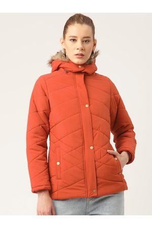 Okane Women Red Hooded Parka Jacket