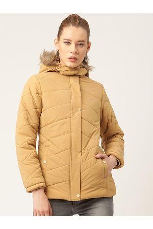 Okane Women Beige Hooded Parka Jacket