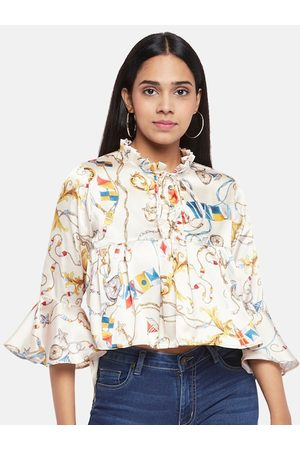 PEOPLE Off White Floral Tie-Up Neck Regular Top