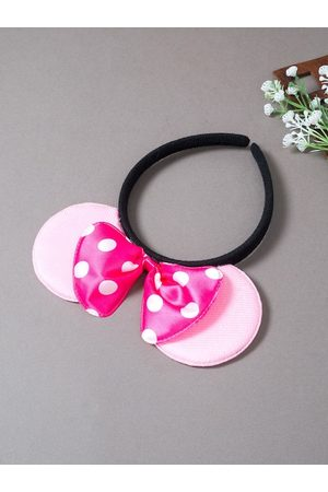 Golden Peacock Women Hair Accessories - Women Pink & White Polka Dot Micky Mouse Ears Bow Hairband