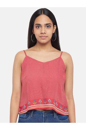 PEOPLE Women Pink Printed Sleeveless Top