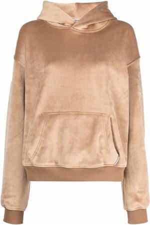 Alexander Wang Women Long Sleeve - Suede-effect long-sleeved hoodie