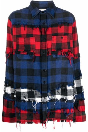 R13 Panelled checked cotton shirt