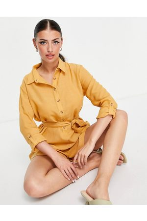River Island Slouchy shirting playsuit in cream
