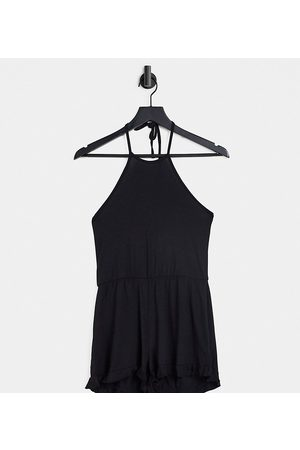 Missguided Halter neck frill detail playsuit in