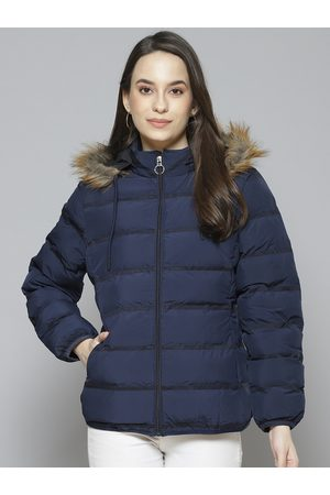 Fort Collins Women Navy Blue Solid Parka Jacket with Detachable Hood