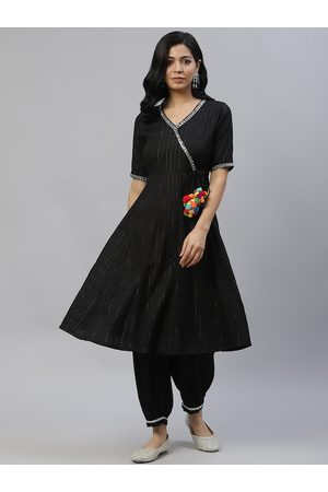 Laado - Pamper Yourself Women Black Yoke Design Panelled Kurta with Salwar