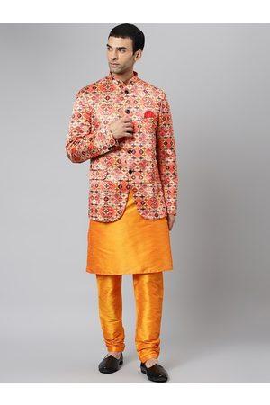 Hangup Men Orange Ethnic Motifs Layered Kurta with Pyjamas