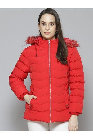 Fort Collins Women Parkas - Women Red Solid Longline Parka Jacket with Faux Fur Trim