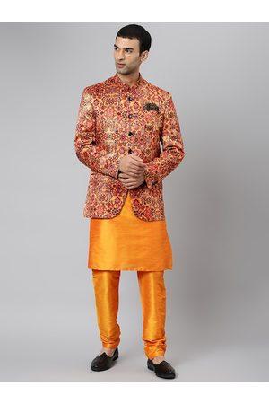 Hangup Men Ethnic Pyjamas - Men Orange Ethnic Motifs Printed Kurta with Pyjamas & Jacket