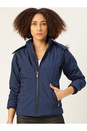 Monte Carlo Women Parkas - Women Navy Blue Solid Parka Jacket with Detachable Hood