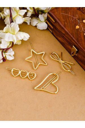 Silvermerc Designs Women Set Of 4 Gold-Toned Infinity Star Hair pins