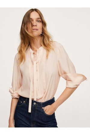 MANGO Peach-Coloured Striped Tie-Up Neck Shirt Style Top