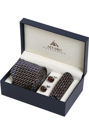 Alvaro Castagnino Men Navy Blue & Brown Accessory Gift Set